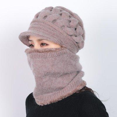 百寶店#中老年人帽子女士冬天加厚連體媽媽毛線帽老人奶奶老太太冬季保暖