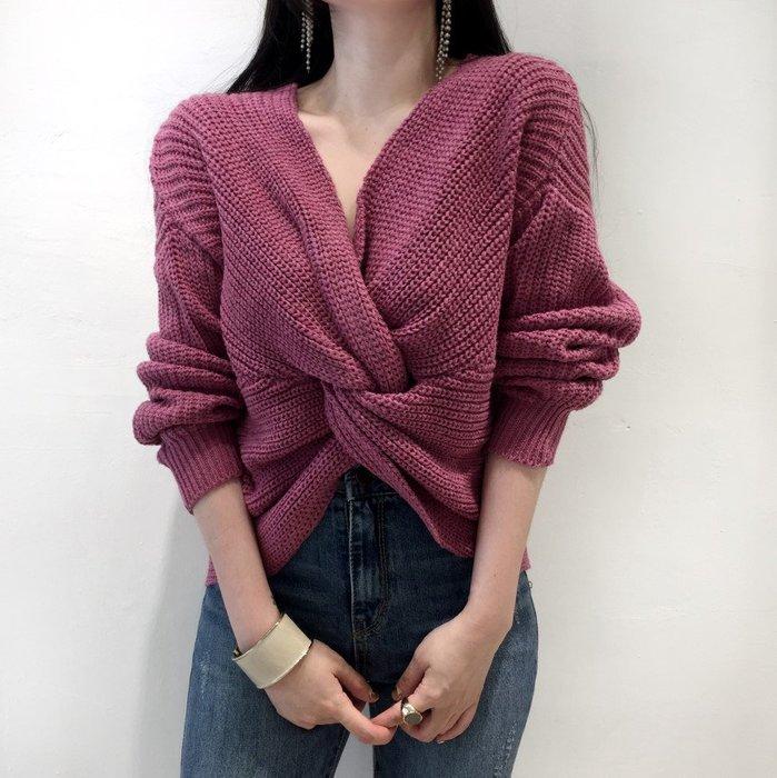 YOHO 毛衣 (HH101538) 可正反兩穿的寬鬆性感俏皮交叉加厚毛衣 針織衫 長袖上衣 有3色 預購