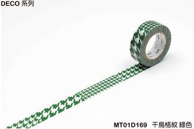 《MT和紙膠帶MT01D169》DECO系列的 千鳥格紋綠色 (15mm),手作膠帶裝飾手帳相本、卡片筆記