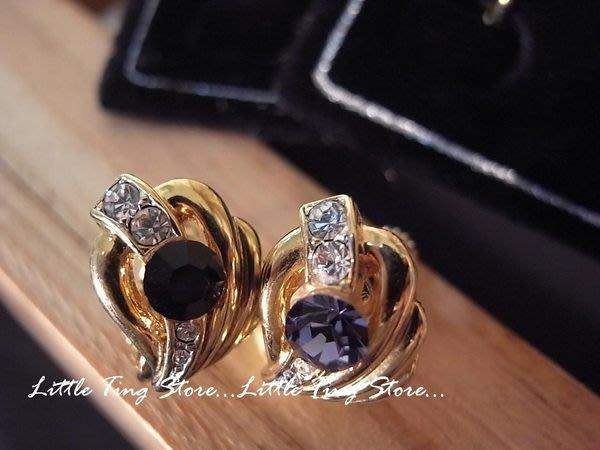 德國珠寶半月型愛心黃金K金屬紫/黑水鑚耳環夾式耳環貼耳飾 生日禮物