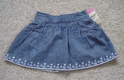 【全新正品】 Oshkosh 女童純棉柔軟繡花牛仔短裙/裙子~內缝小褲褲~~4T~現貨在台