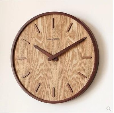 【優上】日式靜音掛鐘客廳臥室現代裝飾掛錶木質石英鐘「胡桃色」