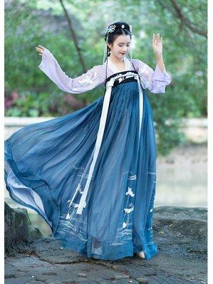 齊胸襦裙對襟上襦原創傳統漢服女春夏刺繡下裙日常-zx08