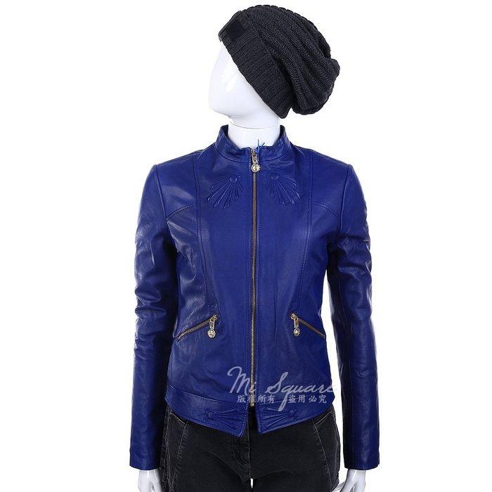 米蘭廣場 VERSACE 藍色浮雕細節設計拉鍊皮革外套(展示品) 1390010-23 42號