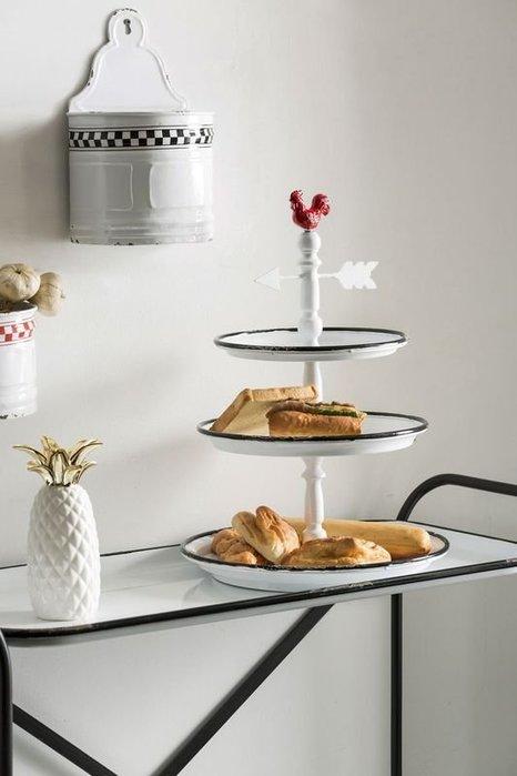 《齊洛瓦鄉村風雜貨》美國Creative Co-op 美式仿舊 仿舊珐瑯公雞三層盤架 三層甜點盤架
