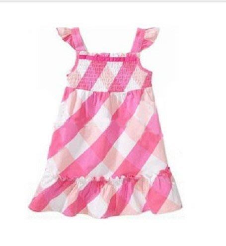 Faded Glory  粉色飛袖滾邊抓皺有機棉洋裝  12M,18M,24M,3T,4T【A5】【B6】