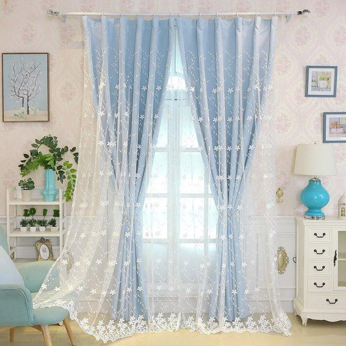 創意 居家裝飾 新款韓式粉色公主風雙層窗簾布紗一體ins網紅臥室客廳遮光帶窗紗