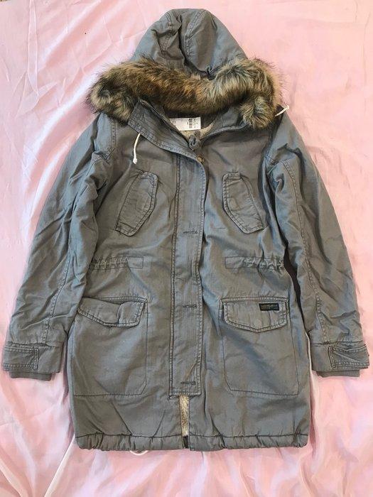 【天普小棧】A&F Abercrombie Sherpa-Lined Twill Parka熊寶寶連帽軍裝派克大衣外套S
