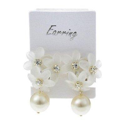 璀璨花朵+ 珍珠 夾式耳環  高雅搭配  婚禮等重要場合搭配合宜