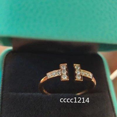 Tiffany 蒂芙尼 T系列 18K玫瑰金 鑲鉆線圈戒指 GRP07761時尚款式