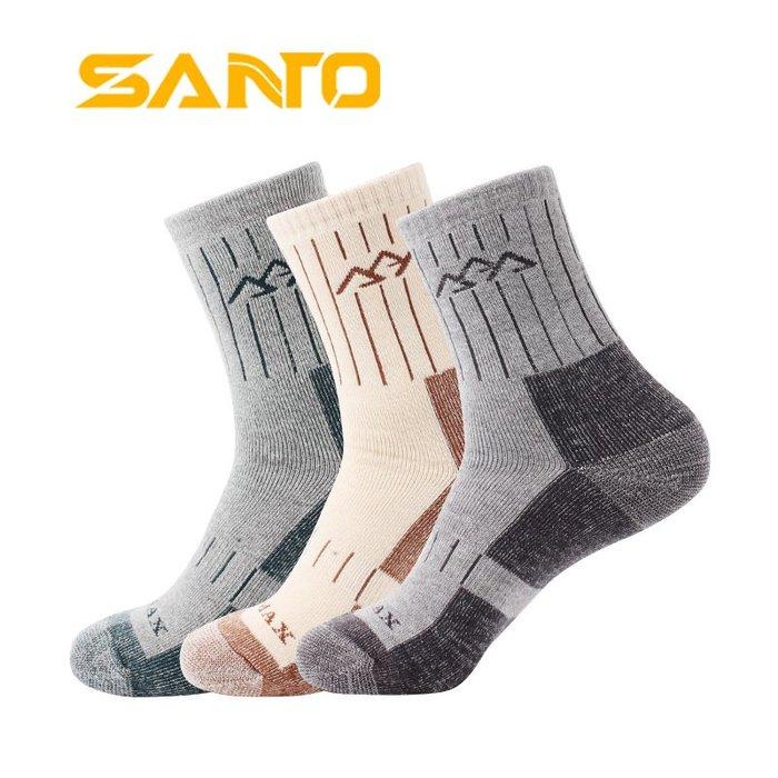 [庫木]2001現貨7-11全家快速到貨韓國運動襪羊毛襪登山襪加厚SANTO/山拓全厚登山襪透氣吸濕排汗保暖襪戶外襪子男