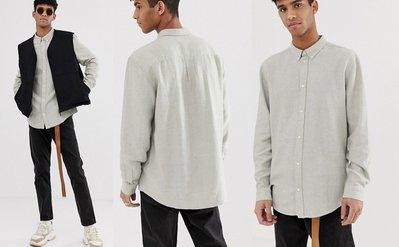 ◎美國代買◎ASOS代買寛鬆剪裁地中海風慵懶風時尚棉麻長袖素色襯衫上衣~歐美街風~大尺碼
