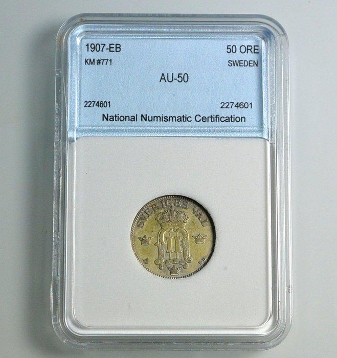 評級幣 瑞典 1907年EB記 50 Öre 銀幣 鑑定幣 NNC AU50