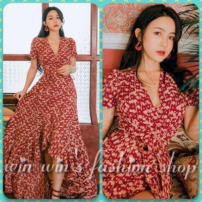 韓系紅色幾何印花前短後長荷葉裙交叉v領綁帶洋裝 波希米亞 渡假洋裝