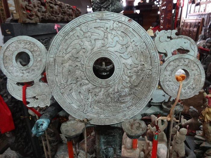 [御寶閣] 古董 文物 藝品 字畫 化石~青玉 玉雕 玉璧 大型玉璧 老玉 老青玉 古玉