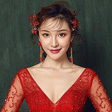 Freedom`原音飾品敬酒服頭飾紅色 結婚新娘森系干花仙美結婚紗禮服髮夾飾品正韓