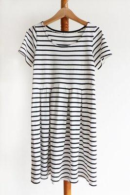 earth條黑白條紋短袖連身裙-i箱i6(SHEIN-Qoo10參考【9/22號萊爾富取貨付款免運】
