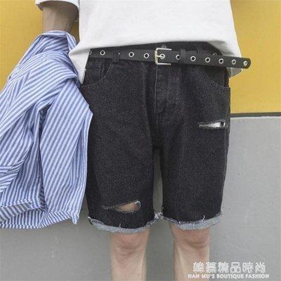 夏季新款日系破洞牛仔短褲男士薄款寬鬆直筒五分褲休閒中褲子潮流