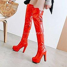 litterluck-韓國專櫃舞臺演出過膝蓋長靴子漆皮酒吧夜店鋼管舞女靴子后綁帶黑白紅色靴