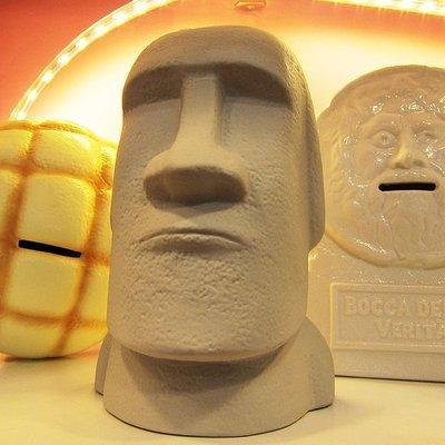 sunart 摩艾石像貯金箱(存錢筒),高16公分。復活節島 moai石像再現! 日本原裝進口 banker