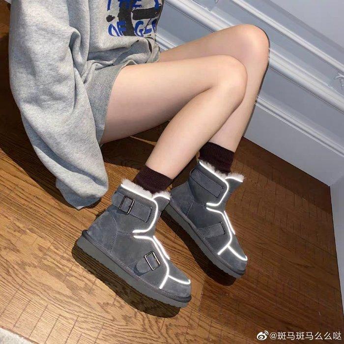 【現貨】[王小毒]繞地球飛 羊毛反光條機車馬丁雪地短靴子女11.11