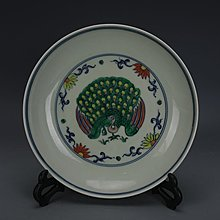 ㊣姥姥的寶藏㊣ 大明成化鬥彩手繪孔雀紋瓷盤 出土官窯仿古瓷器 古玩古董收藏擺件