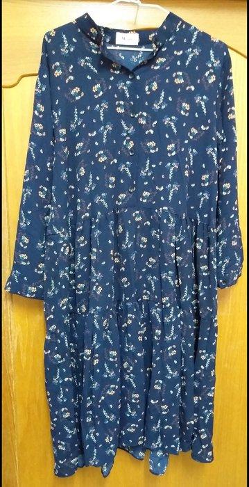 日韓清新氣質藍長版連身裙