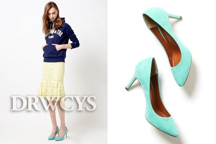 SHINY SPO 獨家代理日本品牌 DRWCYS 都會風馬卡龍色系百搭絨布尖頭高跟鞋
