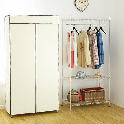 [客尊屋]實用型46X91X180H(接)單衣桿防塵三層/衣櫥架/置物架/收納箱/衣櫥/衣櫃/收納箱/衣帽架