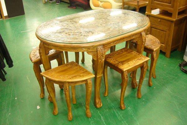 宏品二手家具 傢俱拍賣 P135原木 柚木龍鳳雕刻泡茶桌椅 會議桌 洽談桌 實木餐桌椅大茶几