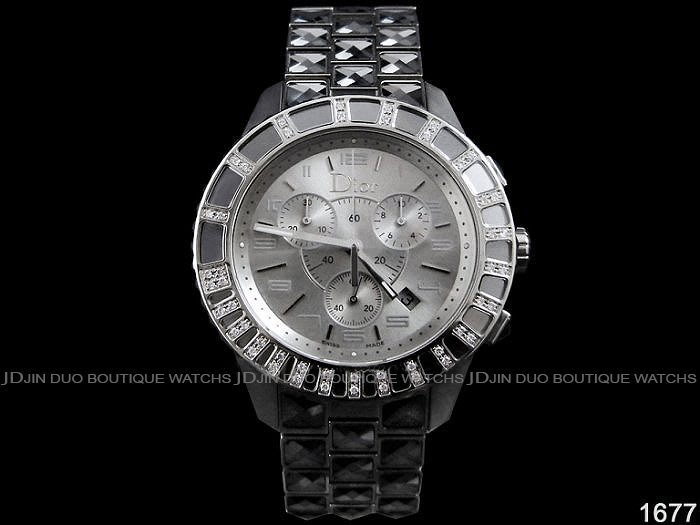 金鐸精品~1677 CHRISTIAN DIOR CD 迪奧 CHRISTAL系列38mm鑲鑽 石英計時腕錶