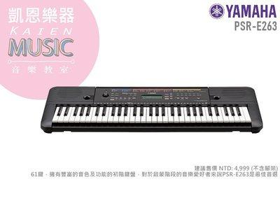 『凱恩音樂教室』免運優惠 台南YAMAHA經銷商 PSR E263 山葉 電子琴 E-263 實體店面 不含琴架款