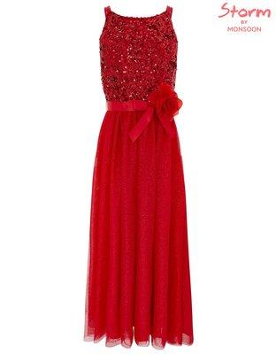 *Sandys home*全新正品 英國童裝 MONSOON TRUTH MAXI DRE 亮片紅紗洋裝 12歲