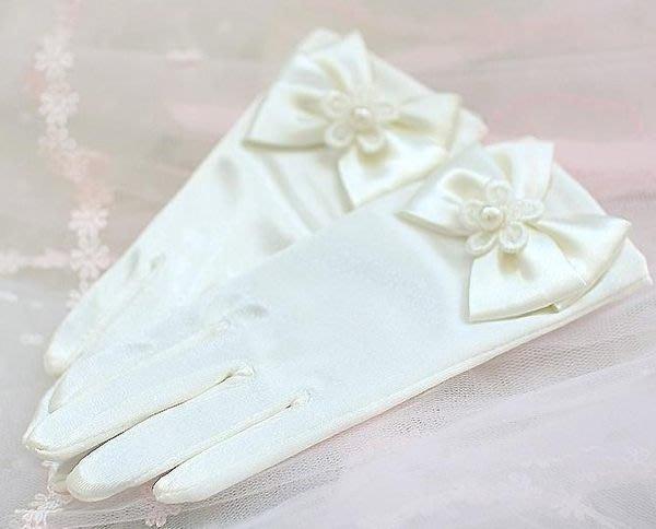 短手套 氣質兒童禮服配件 花童手套 司儀  米白色 粉色  ☆愛米粒☆