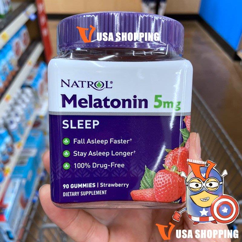 北美旗艦代購~美國直發Natrol Melatonin草莓褪黑激素軟糖5mg助睡眠90粒免運稅
