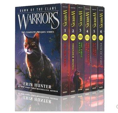 【上品外文書坊】 英文原版 Warriors Dawn of the Clans 貓武士五部曲英文原文書 全6冊裝