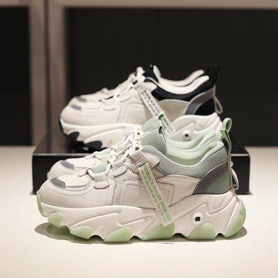 Fashion*網紅芥末綠真皮老爹鞋 厚底小白鞋 真皮休閒運動鞋 反光松糕鞋『黑色 綠色』