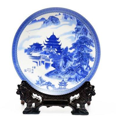 青花綜合裝飾品掛盤景德鎮陶瓷器 黃鶴樓 開心陶瓷98
