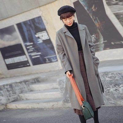風衣 外套 長款大衣-秋冬寬鬆純色繫帶女外套2色73ue3[獨家進口][米蘭精品]