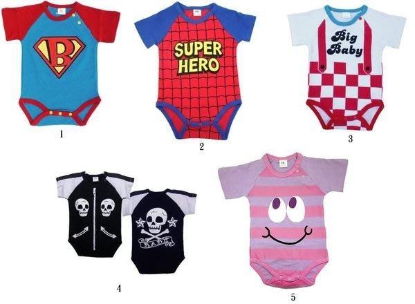 (I LOVE樂多)日本進口嬰兒連身裝 超人 蜘蛛人BIG BOY男孩骷髏笑臉 有70/80CM選擇(送禮自用)