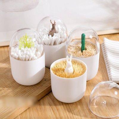 快速出貨 北歐造型 牙籤罐 棉籤罐 棉花棒收納罐 麋鹿/仙人掌造型 北歐風 裝飾 居家小物【RS870】