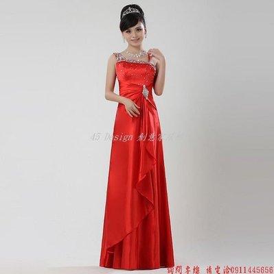 定做  7天到貨   新娘結婚紅色禮服單肩長款敬酒服晚禮服