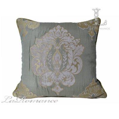 【芮洛蔓 La Romance】古典風情系列金綠色立體圖騰皺褶造型抱枕 / 靠枕 / 靠墊 / 方枕