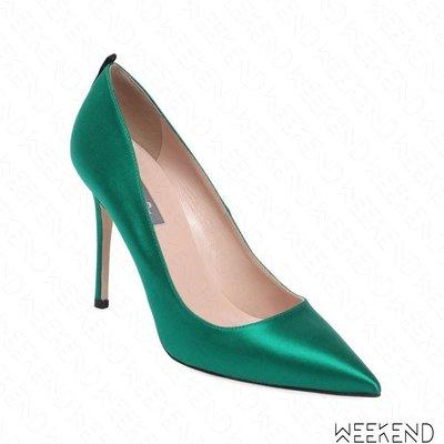 【WEEKEND】 Sarah Jessica Parker SJP Fawn 緞面 高跟鞋 寶綠色