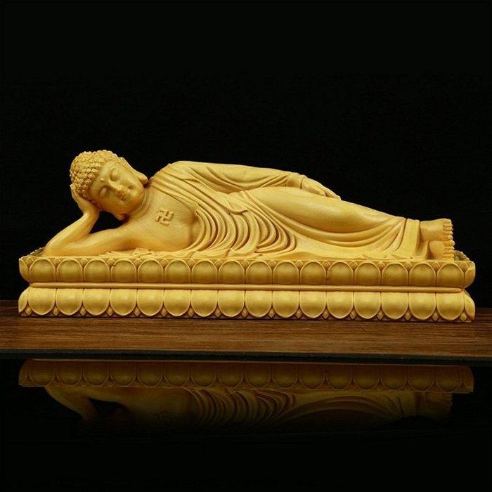 【睿智精品】臥佛 南無本師釋迦牟尼佛 法像莊嚴 木雕擺件 黃楊木(GA-4834)