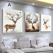 掛畫三件組【RS Home】50x50cm 北歐麋鹿無框掛畫相框木質壁畫裝飾畫板民宿攞飾油畫掛鐘掛畫