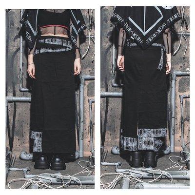 美國東村【SLIGHTLY NUMB】NIGHT SHIFT SKIRT 雙皮帶 蛇紋 窄身 破壞 長裙