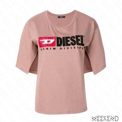 【WEEKEND】 DIESEL Logo 內側開岔 短袖 T恤 上衣 裸粉色 19春夏