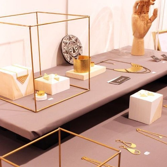[ Atelier Smile ] 鄉村雜貨 復古歐式 金色電鍍 立方體 無玻璃展示盒 收納盒 #10 (現+預)
