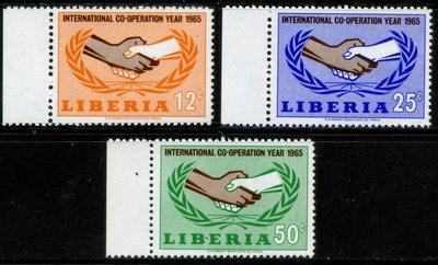 郵紳_39826_賴比瑞亞_國際合作年_1965年_一套3全_原膠新票_美品_背潔無貼_低價起標無底價